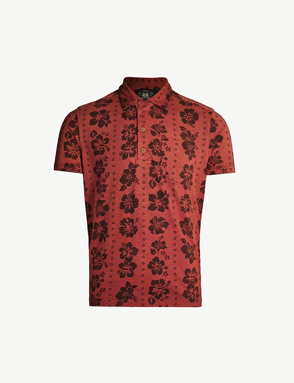 949e013db08d85 RRL Floral-pattern cotton-jersey polo shirt in 2019