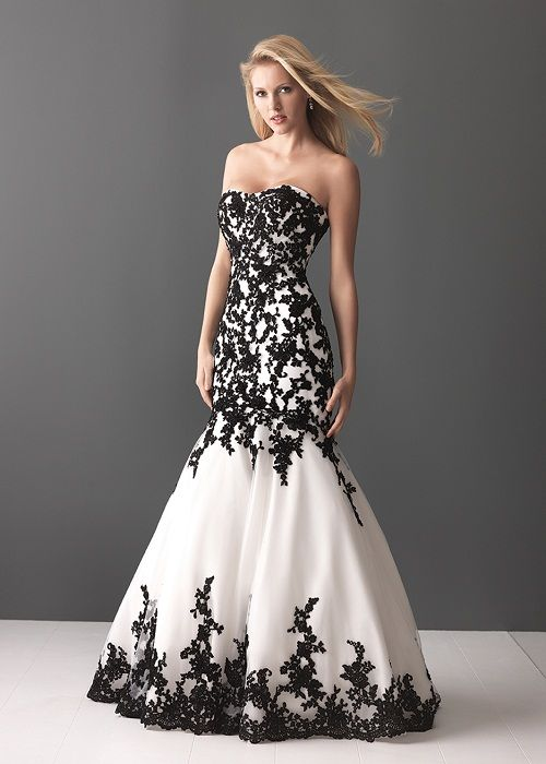 Cool white wedding dress with black lace | Prom | Pinterest | White ...