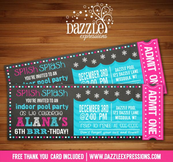 Printable Chalkboard Winter Indoor Pool Party Birthday Invitation – Winter Pool Party Invitations