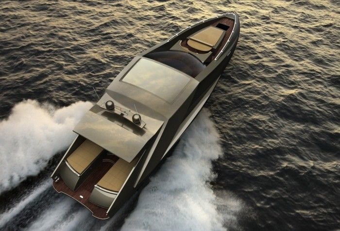 Italian transportation designer Mauro Lecchi made a really stunning concept yacht that borrowed styling elements from iconic Lamborghini cars the like of the Countach, Gallardo and Reventon. 15 meters long, carbon/kevlar body, triple Lamborghini V12's (or twin 700-horsepower Volvo Penta turbo-diesels), three decks, one master bedroom and one guestroom… Yep, I definitely want one… Lets hope the concept sees daylight someday and that we all will win the lottery… ;)