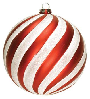 6 Red And White Striped Ball Ornament Dekra Lite Red And White Christmas Colors Christmas Tree Ornaments