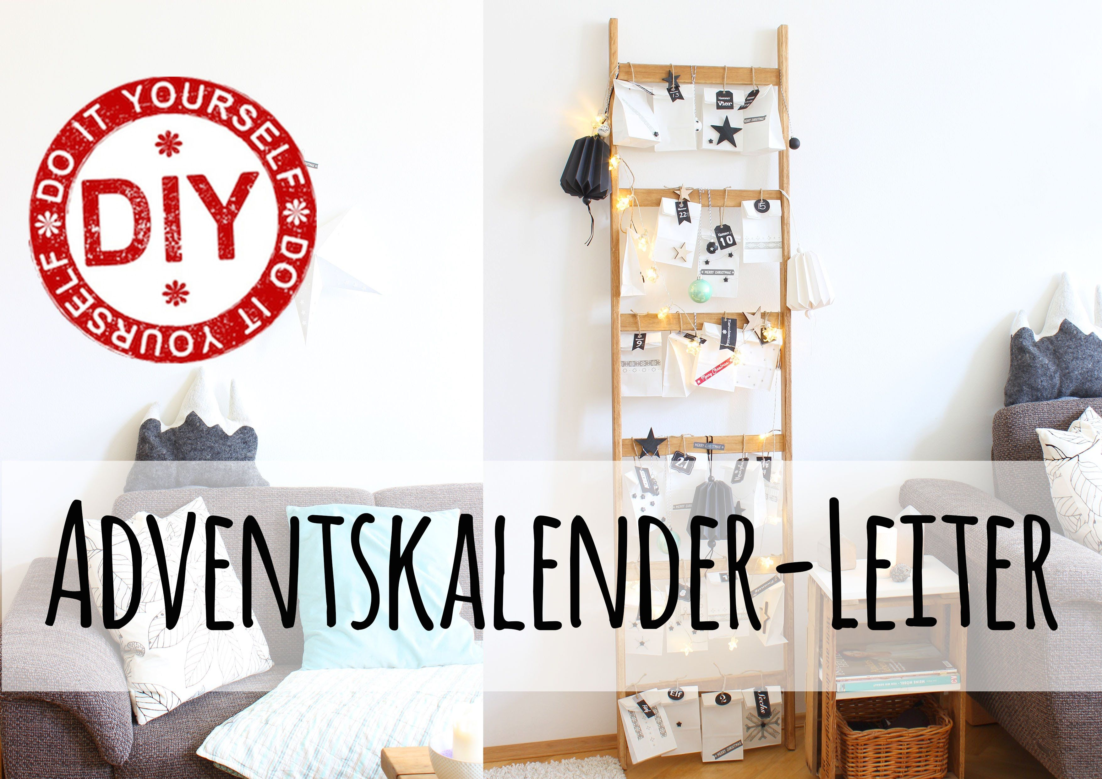 adventskalender i leiter bauen i deko inspirationen i mrs shabby chic i. Black Bedroom Furniture Sets. Home Design Ideas