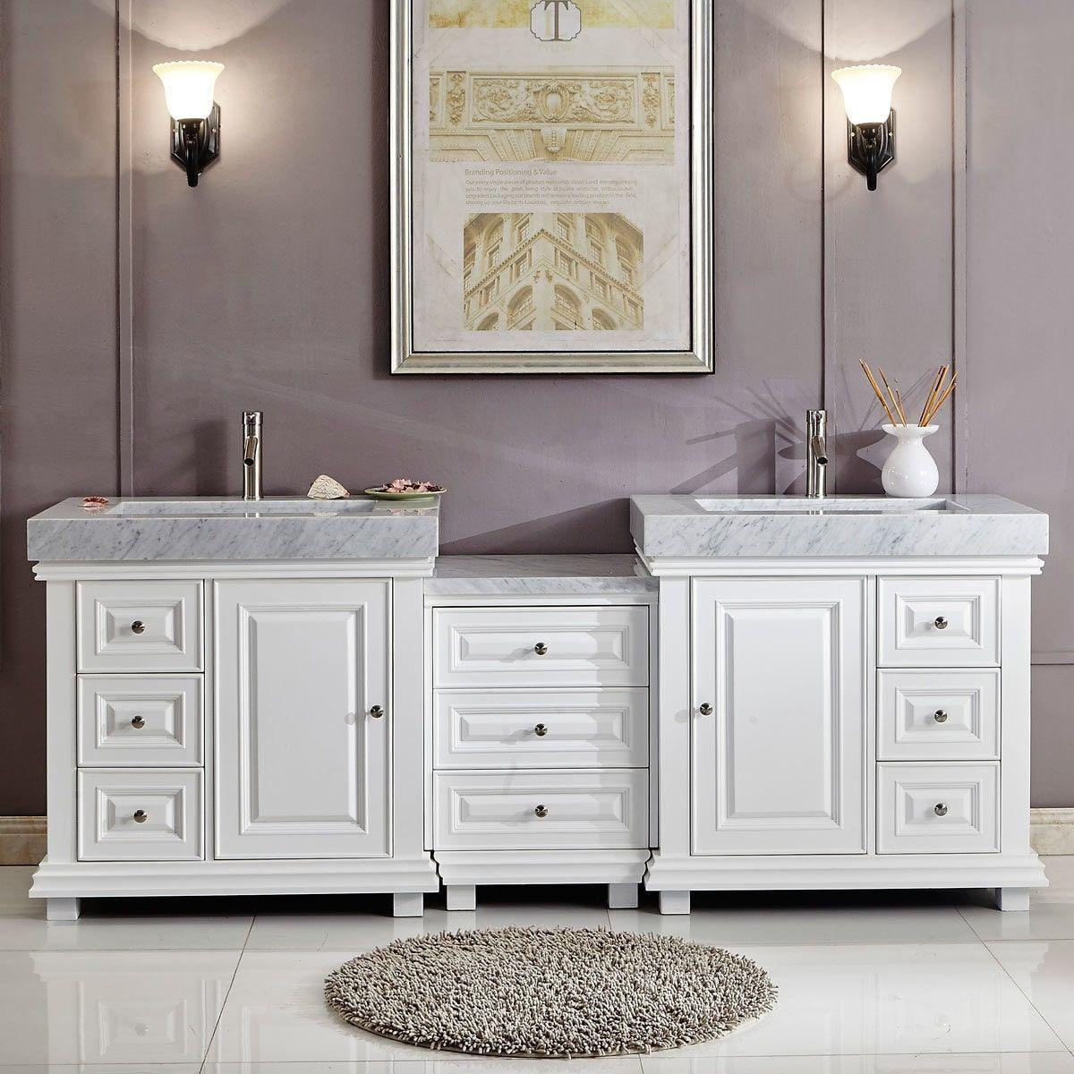 Silkroad exclusive modern bathroom vanity double sink cabinet w