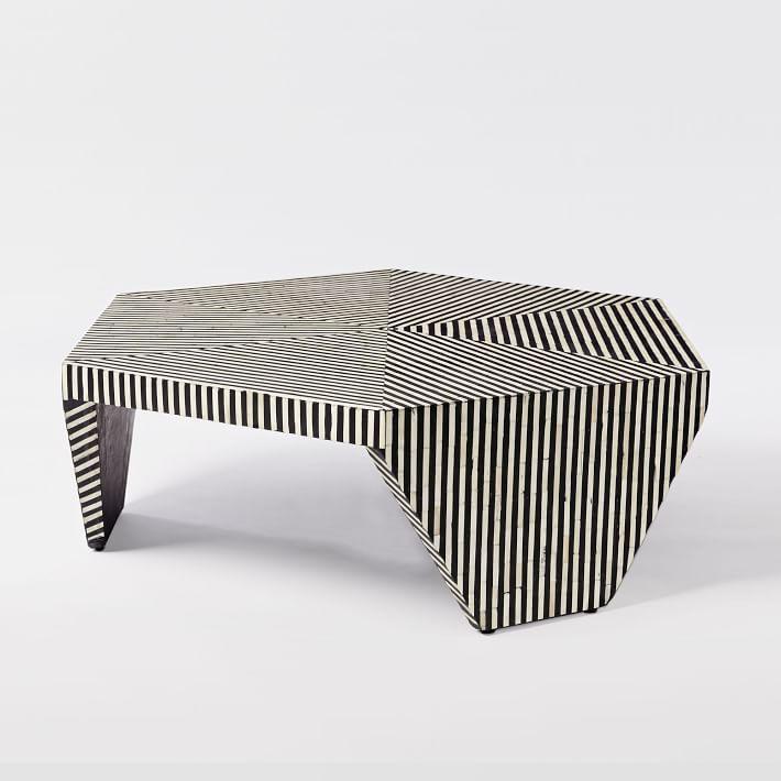 Bone Inlaid Faceted Coffee Table
