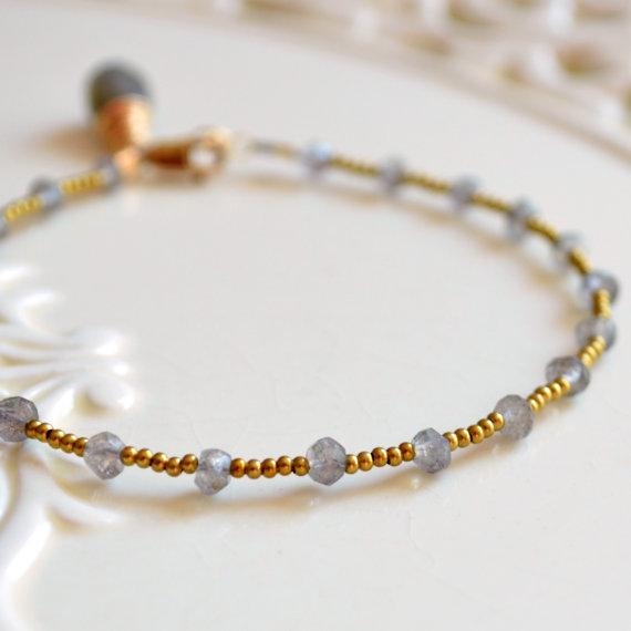 Gold Filled Flashy Stacking Bracelet Grey Labradorite Crystal Layering Bracelet CraeVita