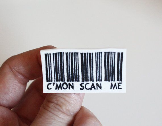 bar code Etsy brooch by memorieswarehouse on Etsy, €6.00