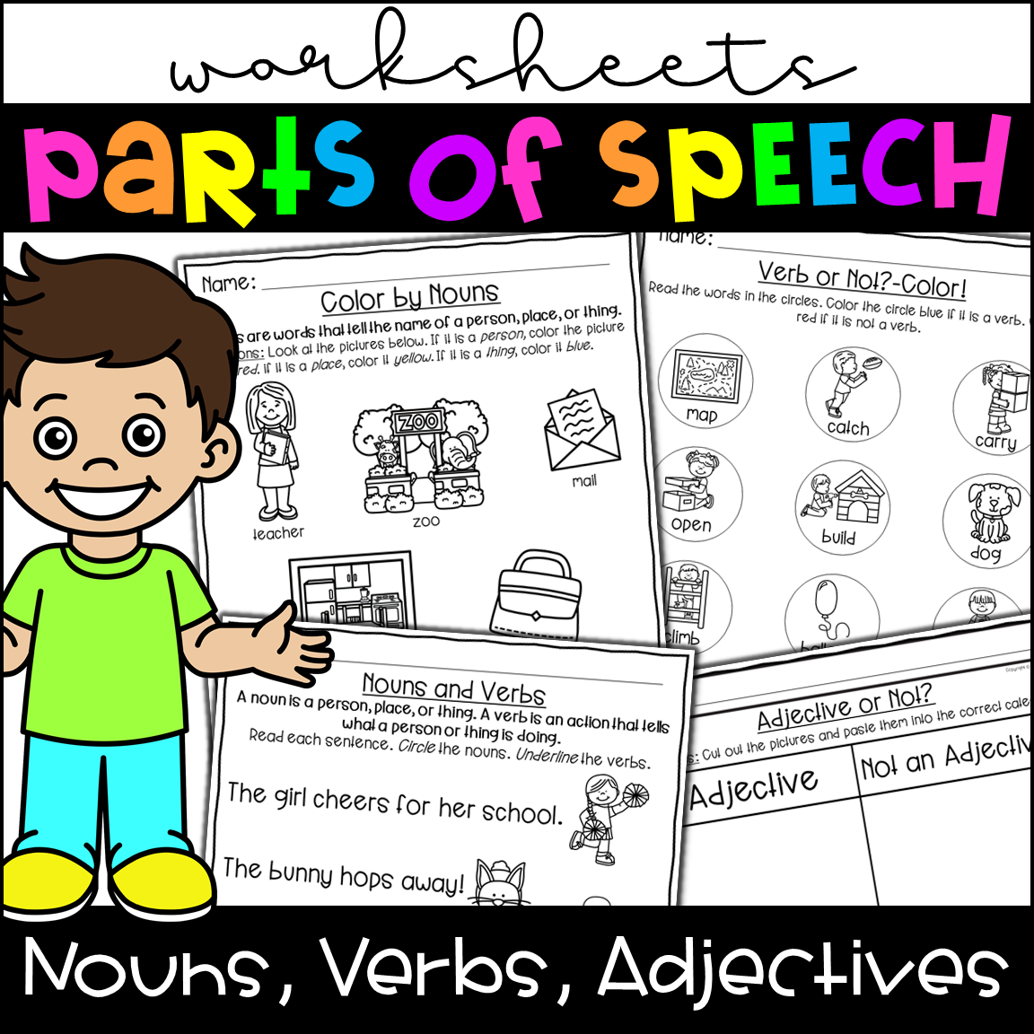 Parts Of Speech Worksheets Nouns Verbs Adjectives From