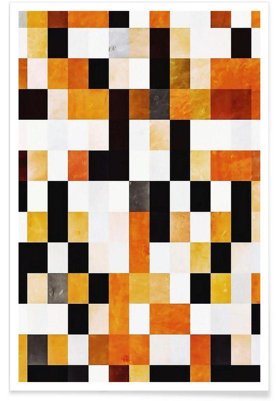 Orange Squares en Affiche premium par In Full Color | JUNIQE