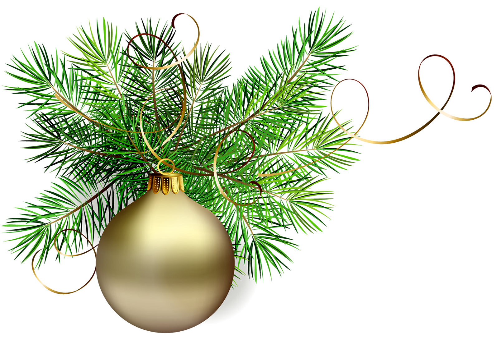 Gold Christmas Bulb On A Pine Branch Clip Art Holiday
