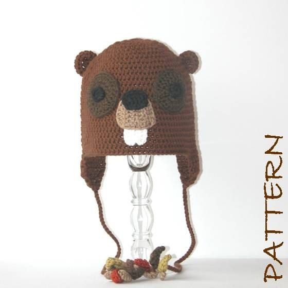 Crochet Animal Hat Pattern - Beauregard the Beaver Earflap Critter ...