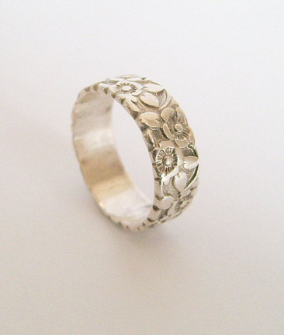 Floral Bands: Antique Sterling Silver Floral Repousse Wedding Band
