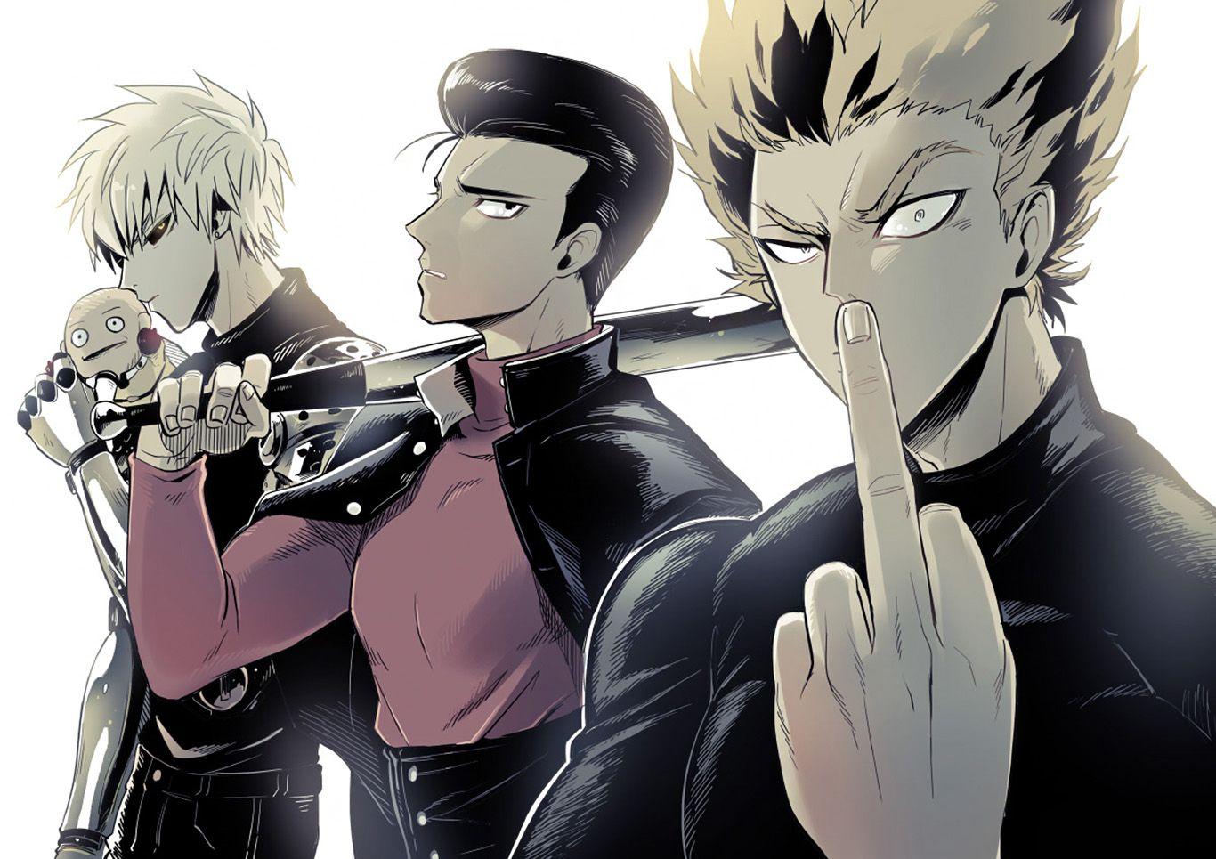 Anime One Punch Man Genos Metal Bat Garou Wallpaper イラスト アニメ