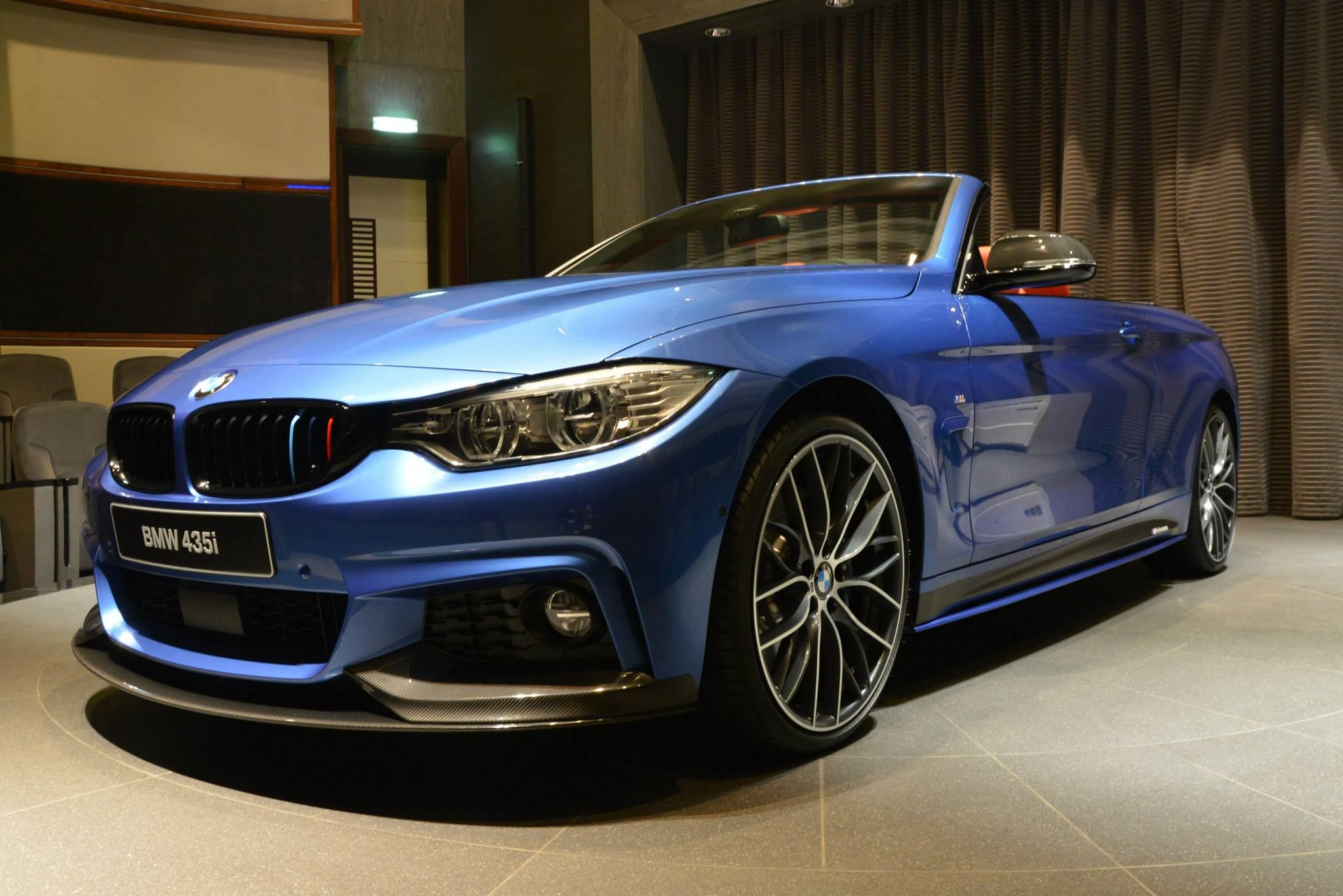 Bmw 435i Convertible In Estoril Blue And With M Performance Parts Bmw 4 Series Bmw Bmw 4