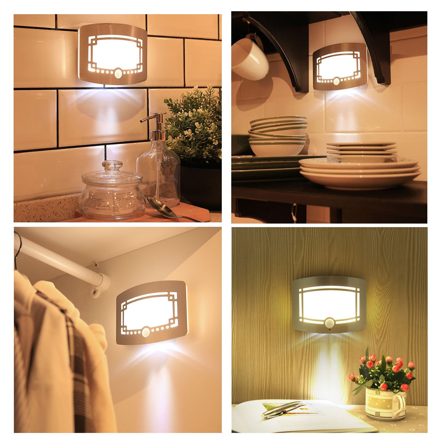 Motion Sensing Wall Lights, Battery Operated Wall Night Lamp For