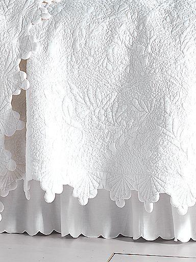 Coquillage De La Mer Quilt, Shams & Bedskirt | linensource | beds ... : white quilted bed skirt - Adamdwight.com