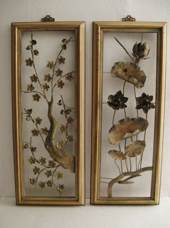 Vintage Oriental Decororiental Wall Hangingmetal Wall Etsy Metal Wall Flowers Metal Wall Hangings Decorative Screen Panels