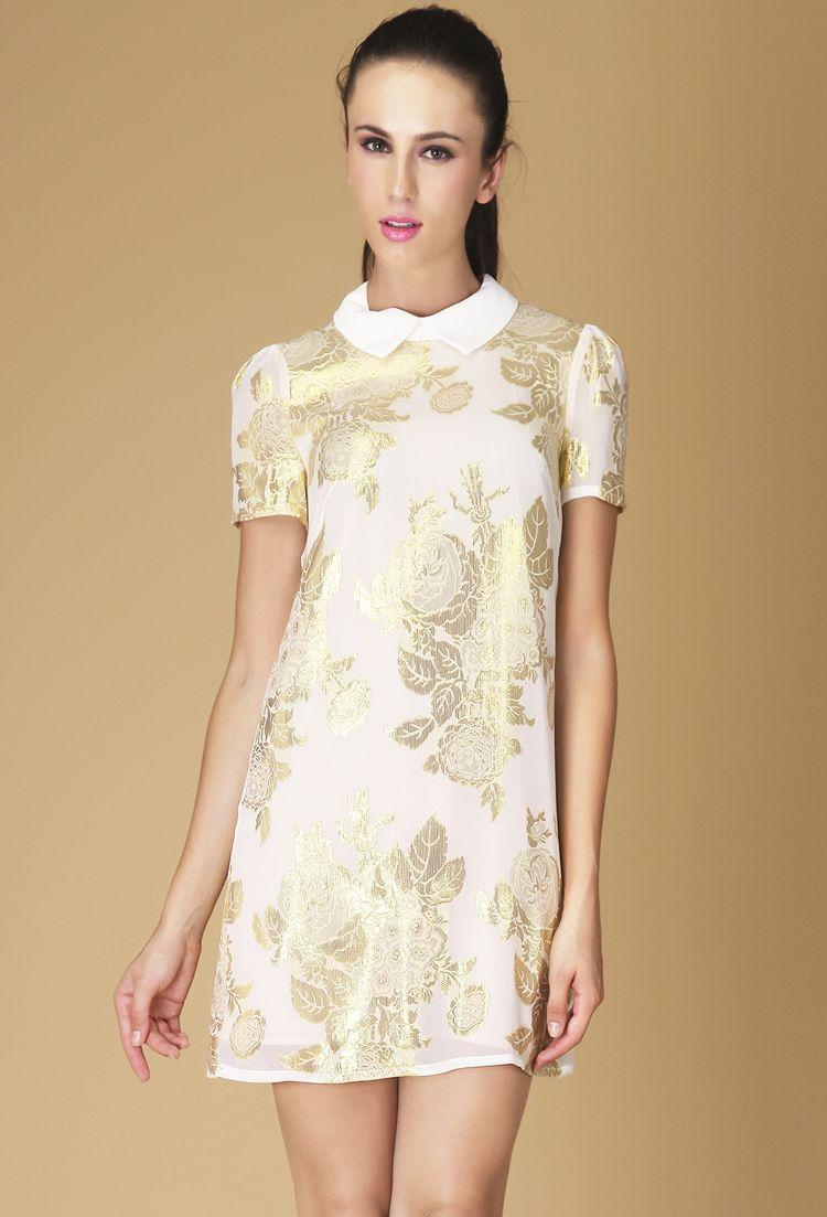 16b1b53e2b White Lapel Short Sleeve Embroidery Silk Dress