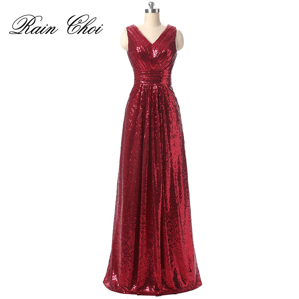 Sequin evening dress v neck evening gowns sleeveless long prom party