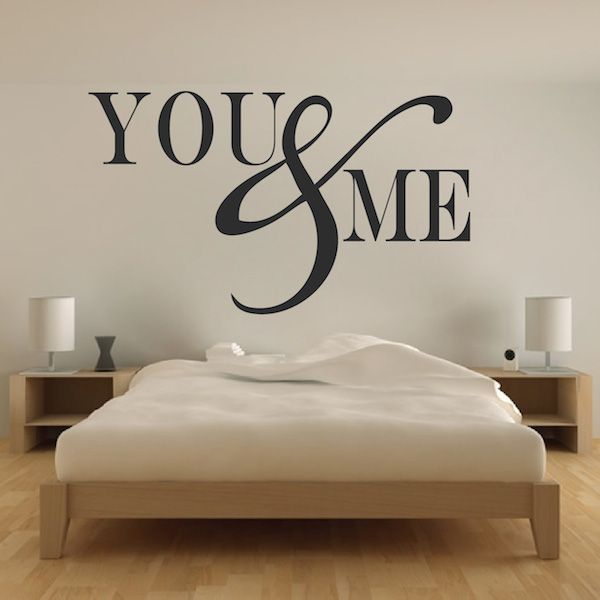 Romantic Bedroom Wall Decal Vinyl Mural Sticker You And Me Quotes Trendy Wall Designs Wall Decals Living Room Wall Decals For Bedroom Romantic Wall Decals