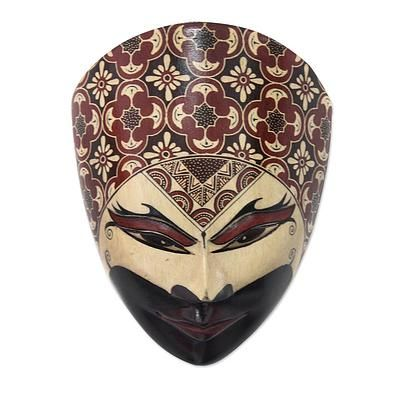 Wood batik mask, 'Noble Man' - Batik Mask from Indonesia ...