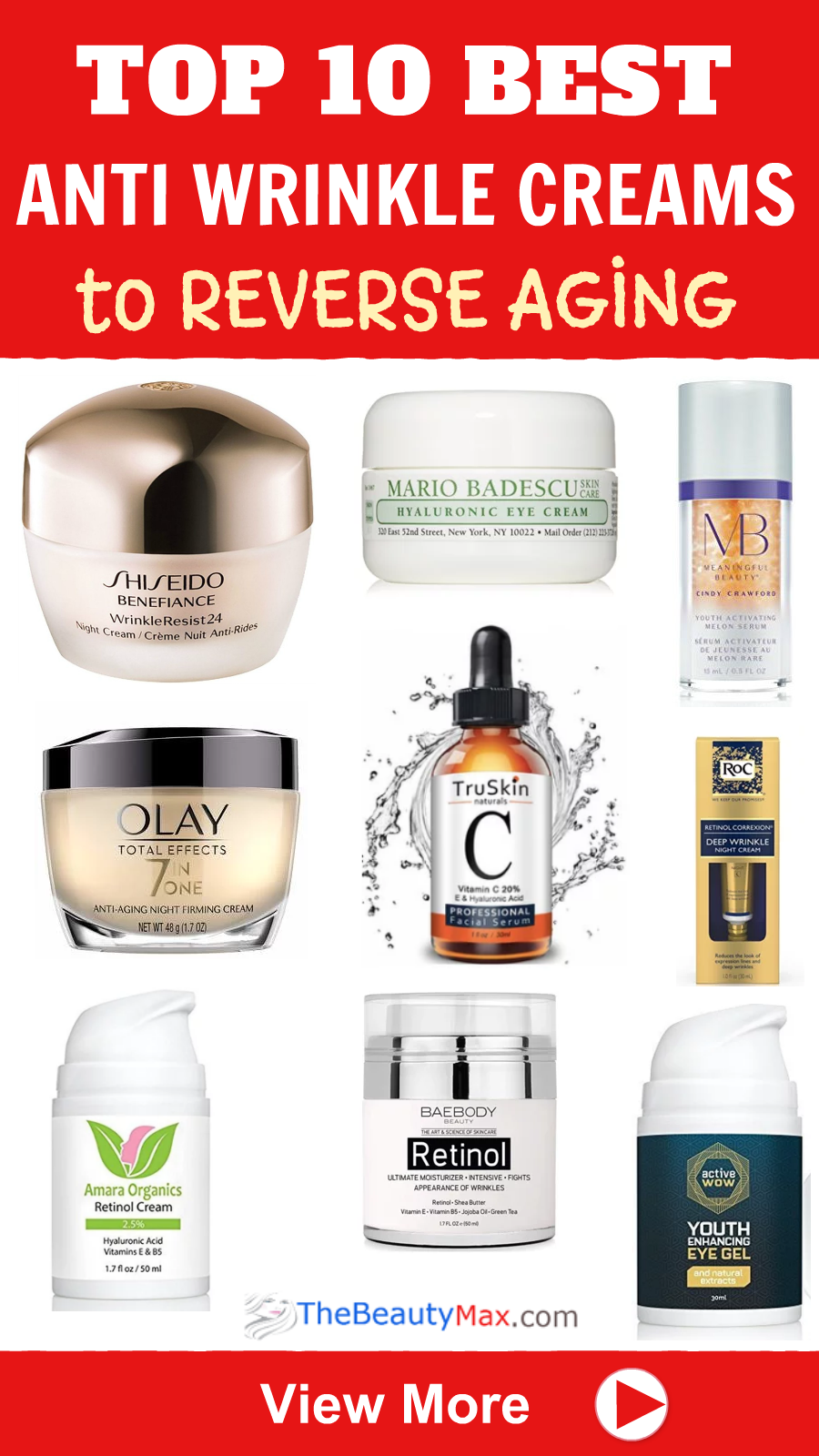 Best Anti Wrinkle Creams Serums You Can Buy At Drugstores Anti Wrinkle Cream Anti Aging Cream Aging Skin Care