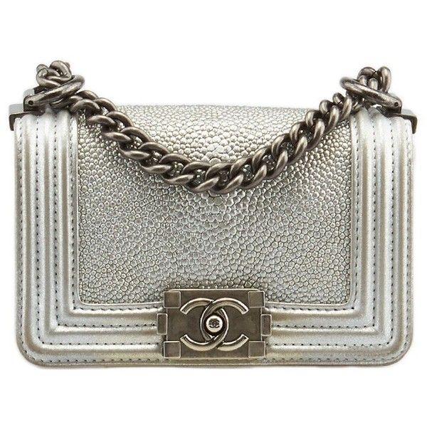 d3ef7b232134d3 Silver Purses · Pre-owned Chanel Stingray Mini Boy Silver Leather Shoulder  Bag (17.255 BRL) ❤