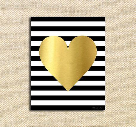 Gold Heart Art Print, Gold Office Decor Wall Artwork, Gold Nursery ...