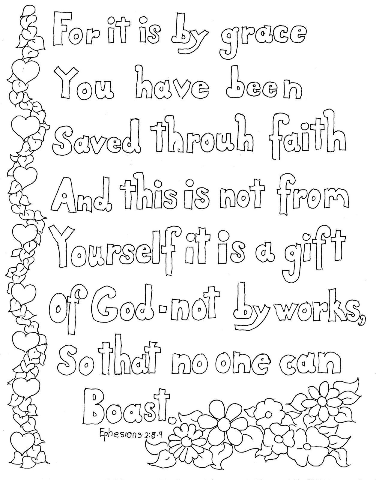 Coloring pages for preschoolers on salavation - Coloring Pages For Kids By Mr Adron Ephesians 2 8 9 Print