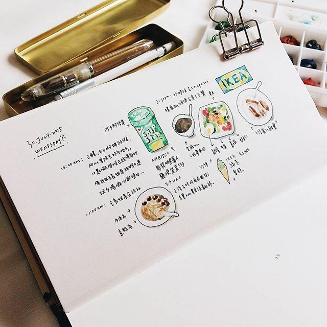 @laimanfung #ShareIG /20150730 昨日 #hkig #hk #hongkong #instagood #instadaily #instalike #vsoc #travel #travelnootbook #midoritravelersnotebook #midori #illustration #日記 #手帳 #ほぼ日手帳