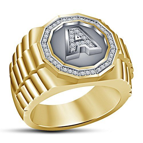 Vorra Fashion Men s A Letter Initial Fancy Ring 925 Sterling