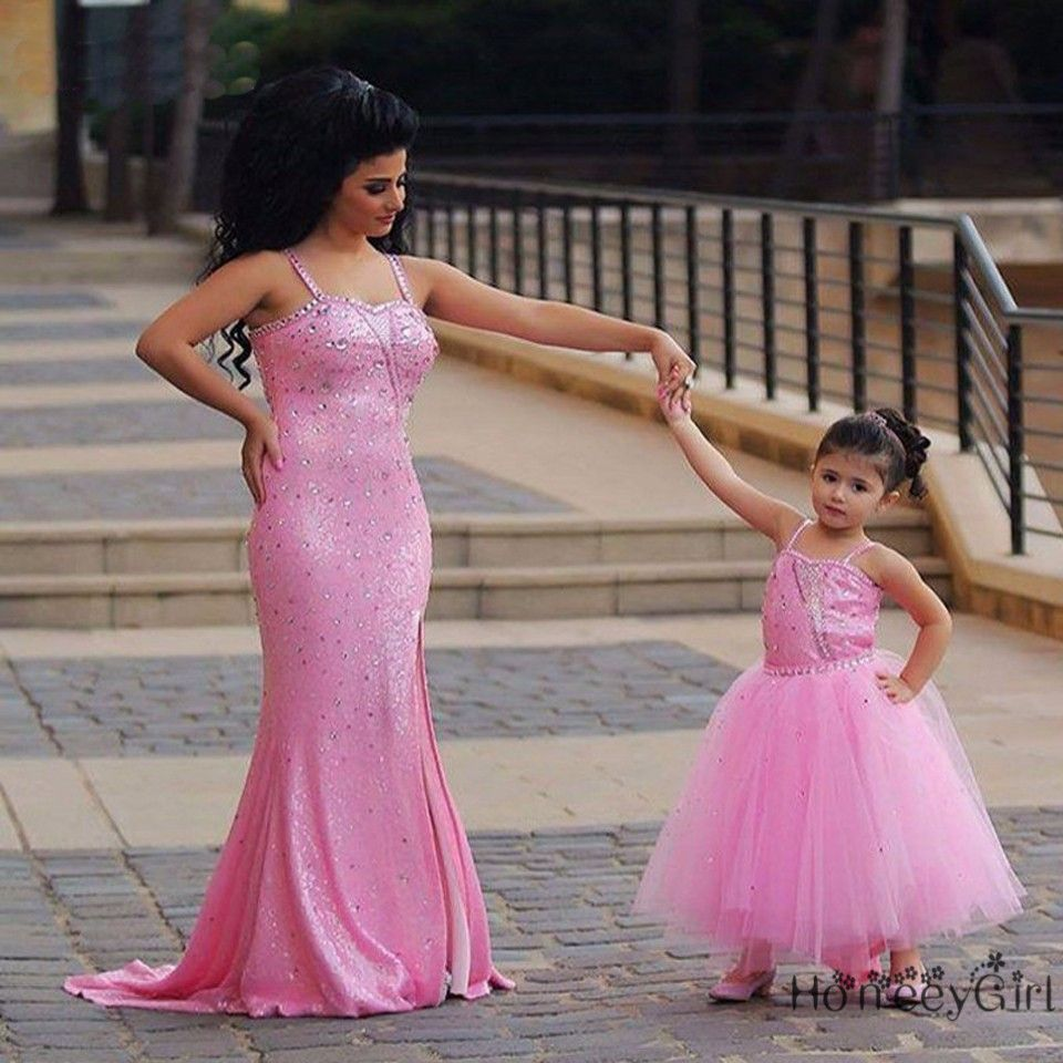Modest Mermaid sequin Prom Dresses Mother and Daughter spaghetti ...