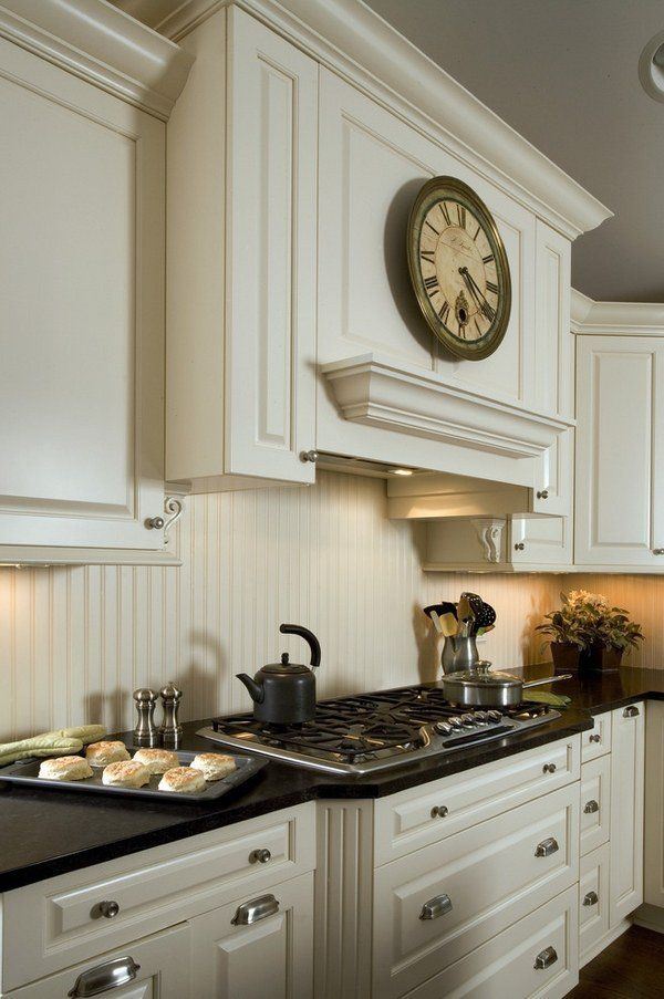 Beadboard Backsplash Ideas Part - 30: White Kitchen Cabinets Dark Countertop Beadboard Backsplash Ideas