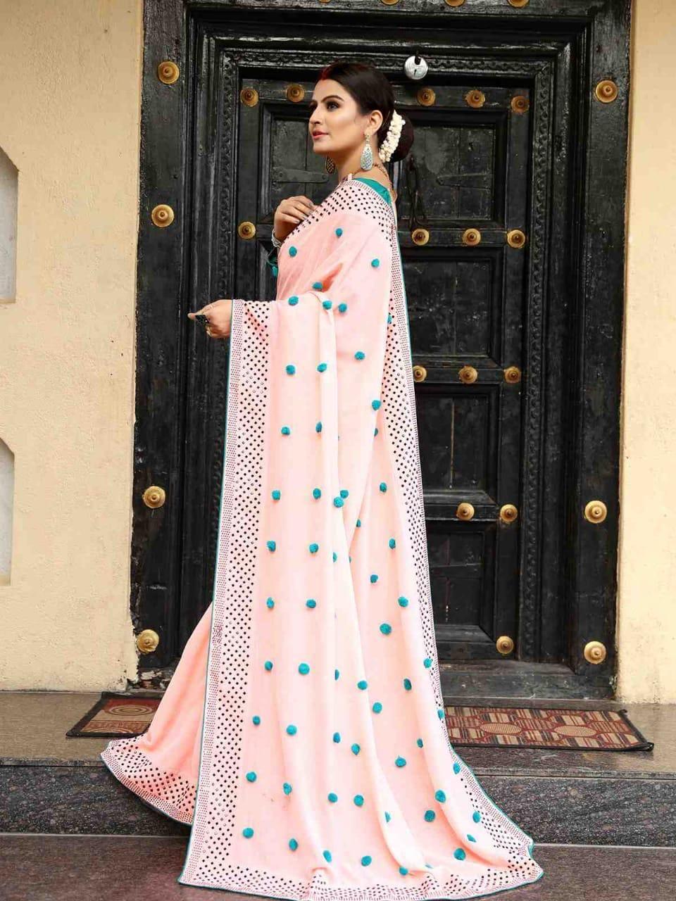 Luminous Peach Color Zoya Silk With Diamond Work Border ...