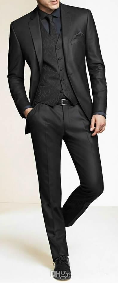 Cheap Men Slim Fit Suits Custom Made Charcoal Grey Groom Suit ...