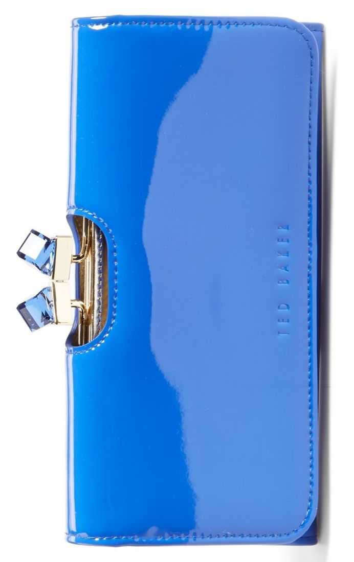 178330c98 Cute cubic crystals catch and reflect the light on this vibrant blue patent  leather Ted Baker wallet. It s so pretty