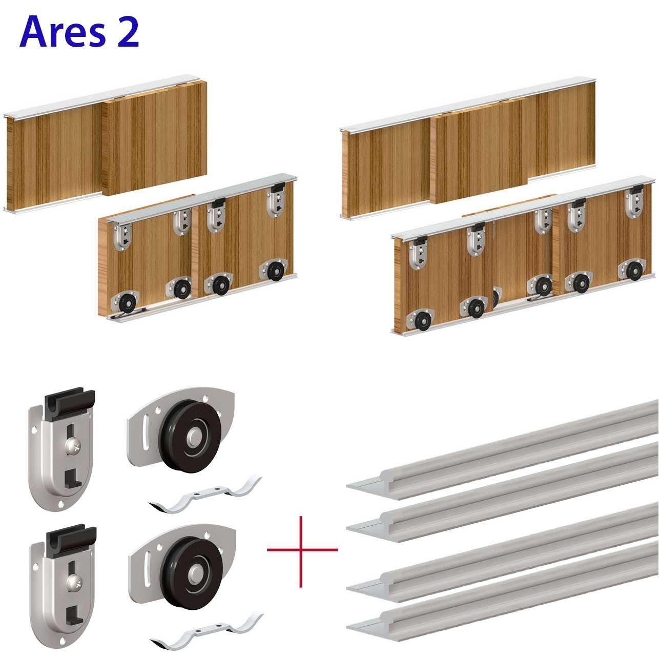 Ares Wardrobe Sliding Door Gear Track Kit For Bottom Rolling Setup For Diy Buller Sliding Cabinet Door Hardware Sliding Door Systems Cabinet Door Hardware