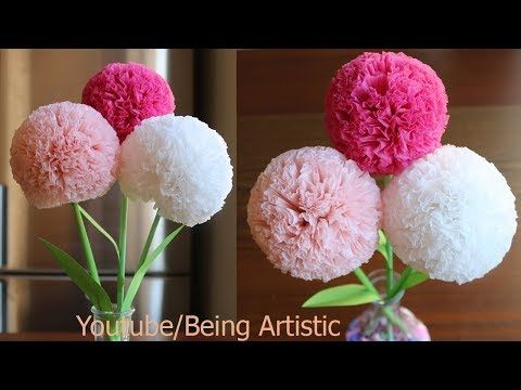 How To Make Round Tissue Paper Flower - DIY Paper Craft - YouTube #easypaperflowers