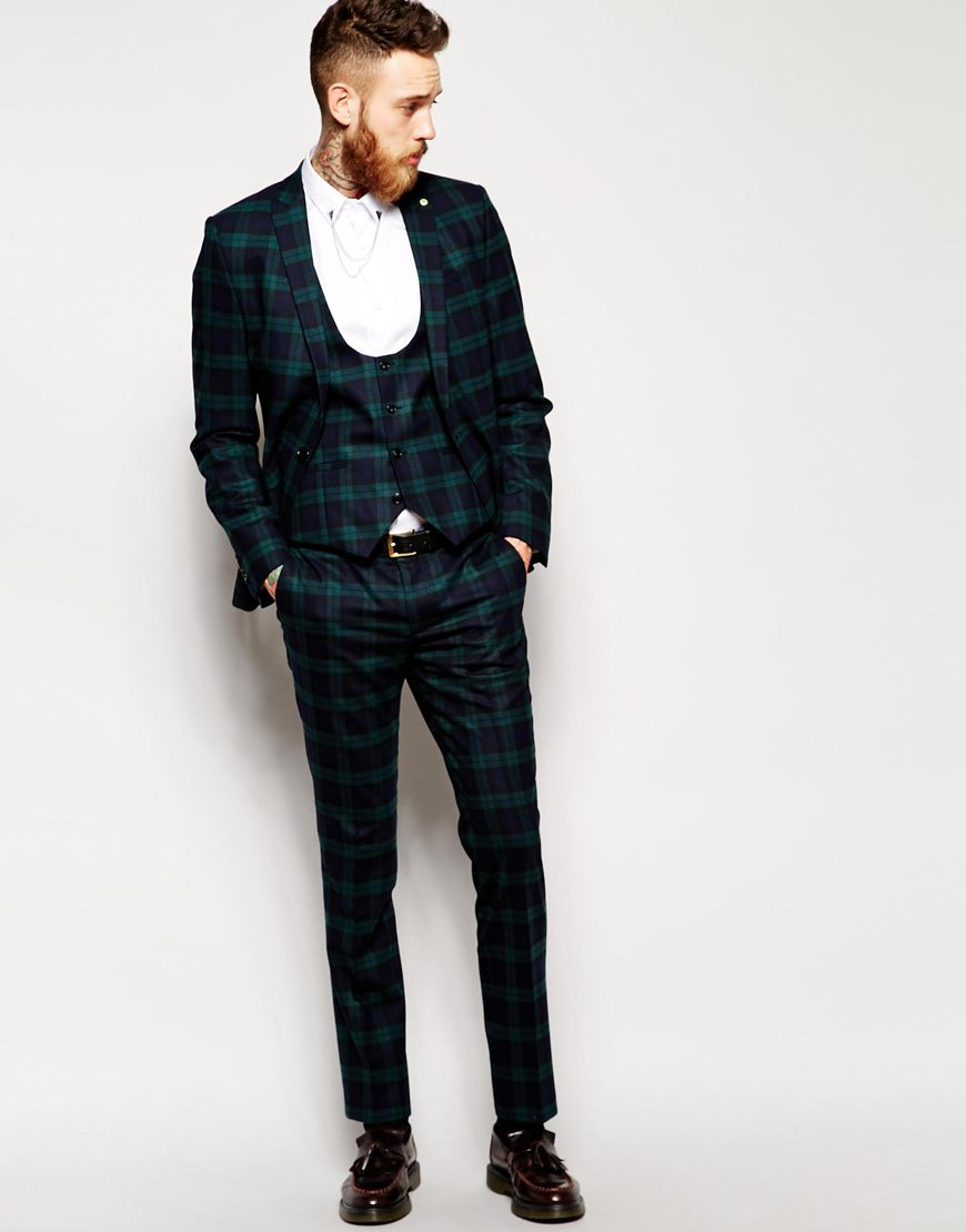 Noose & Monkey Tartan Suit in Green Skinny Fit | Croque M ...