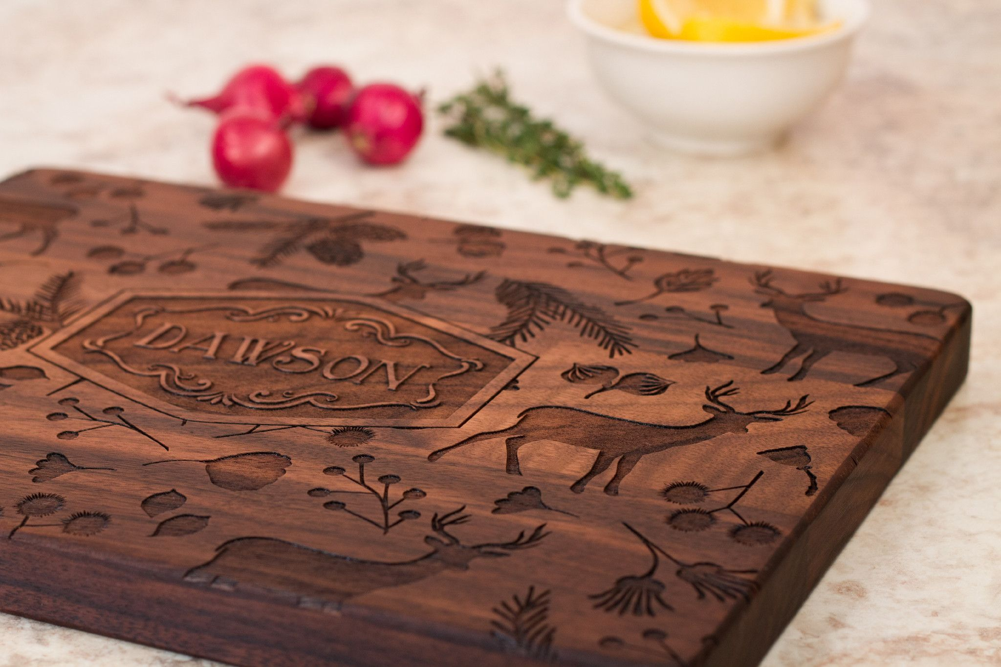 cu122 woodland deer antlers personalized engraved wooden cutting