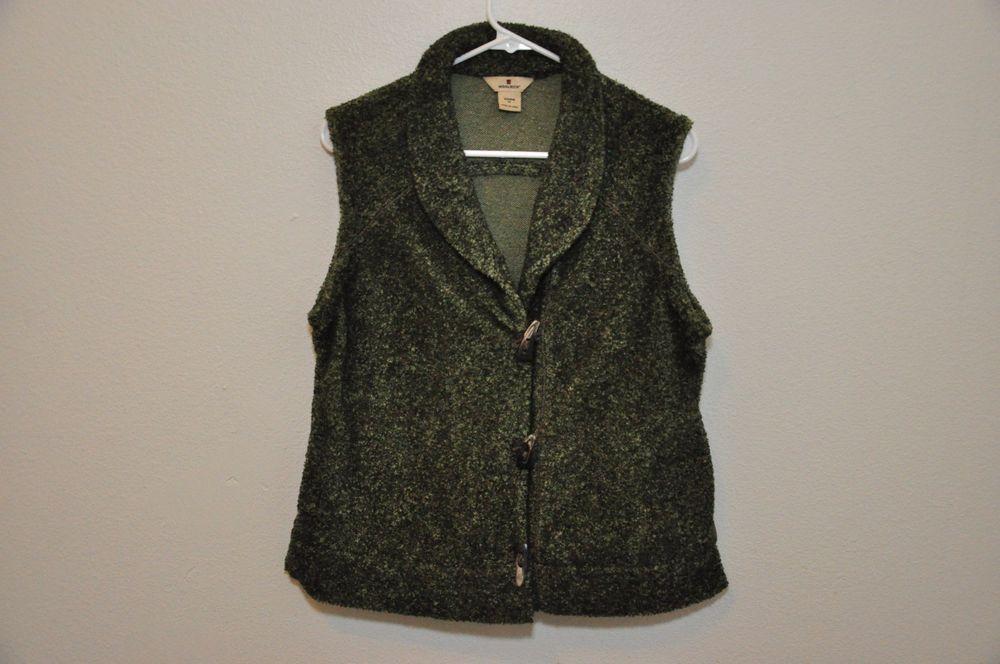 Women's Woolrich Green Winter 3 Button Front Vest Medium Acrylic/Polyester EUC #Woolrich