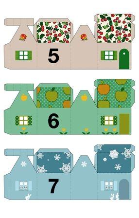 papírový domeček, vystřihovánka, adventní kalendář Adventní