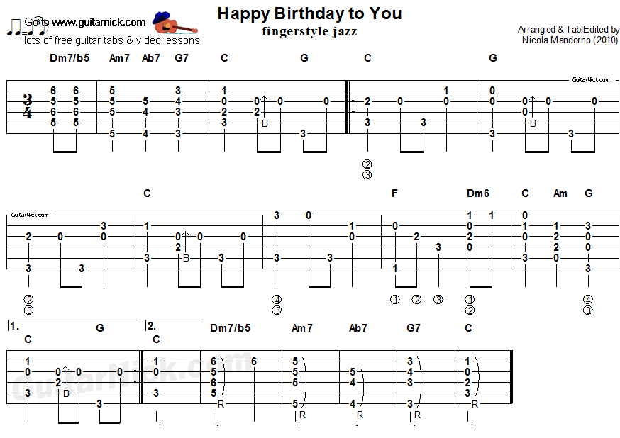 guitarnick : Happy Birthday To Youu0026quot; - acoustic fingerstyle guitar tab : Guitar stuff : Pinterest ...