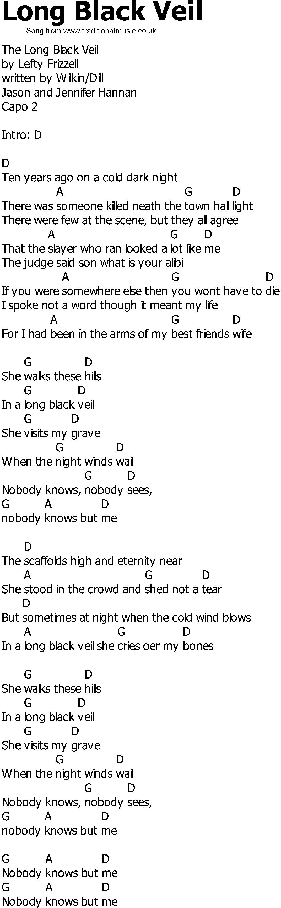 Old Country Song Lyrics With Chords Long Black Veil Country Songs Old Country Songs Country Song Lyrics