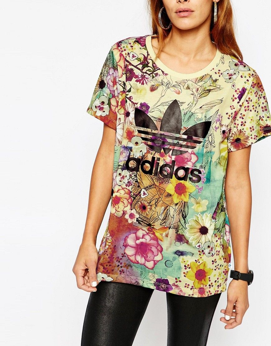 Image 3 of adidas Originals Farm Oversized T-Shirt With Trefoil Logo In  Floral Print