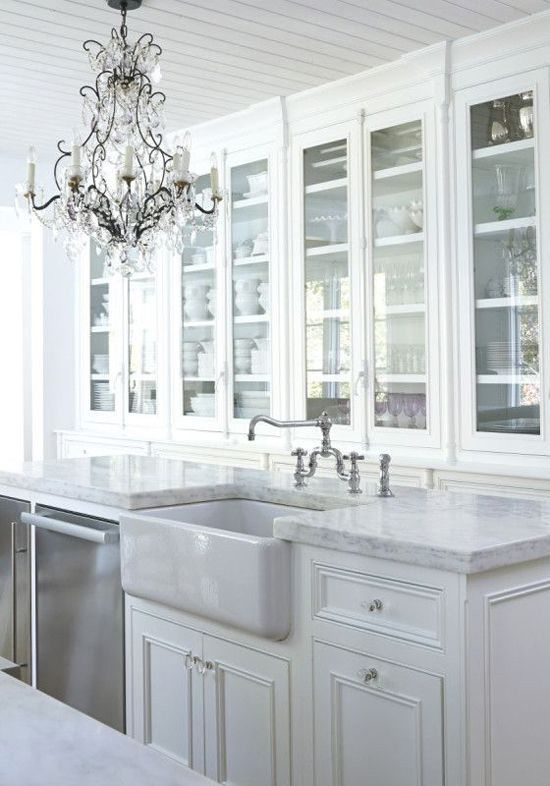 Traditional crystal chandelier in all white kitchen lobo mission house traditional crystal chandelier in all white kitchen aloadofball Image collections
