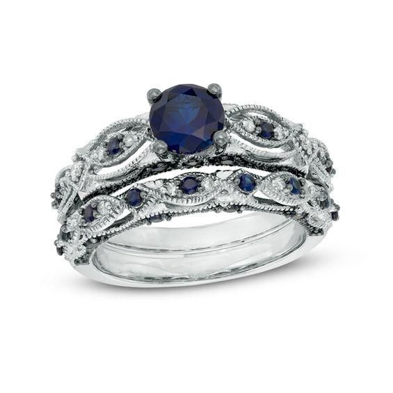 Zales 6.0mm Lab-Created Blue and White Sapphire and 1/10 CT. T.w. Diamond Frame Vintage-Style Ring in Sterling Silver U9L04KbU
