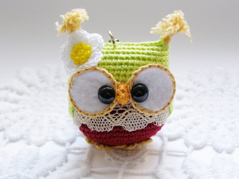 Owl keychain crochet owl key chain amigurumi owl toy bag от Laska ...