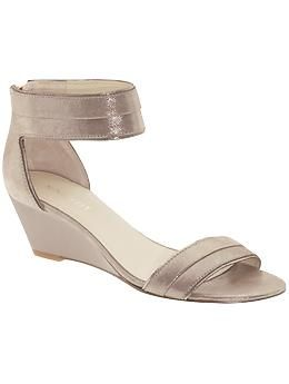 cafabdf7de89f5 These are a shimmery gold nude color. And the heel isn t too tall for those  who want more comfort. From Nine West via Piperlime.