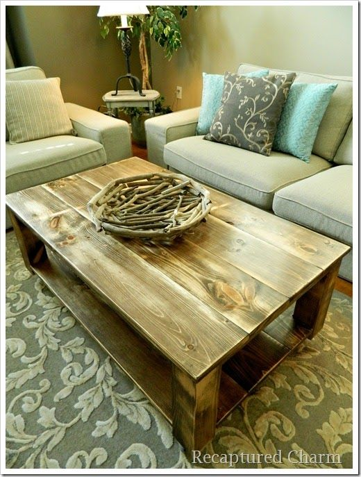 Do It Yourself Rustic Coffee Table Recaptured Charm Pinterest Rustic Coffee Tables And