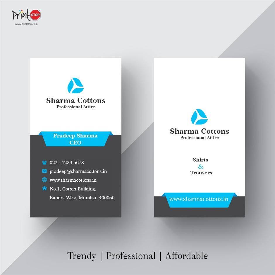 Get Trendy Professional And Affordable Visiting Cards From